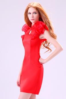 Modern High Collar Sheath Mini Length Red Cocktail Dress
