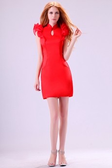 Modern High Collar Sheath Mini Length Red Cocktail Dress