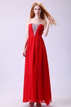 Ankle Length Dipped Neckline Red Chiffon Junior Prom Dress