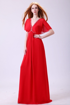Graceful Cap Sleeves V-Neckline A-line Red Chiffon Formal Evening Dress