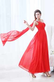 Modest One Shoulder Ankle Length Red Chiffon Junior Prom Dress With Ribbons
