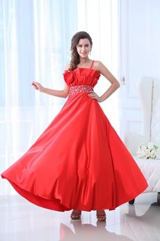 Modest Spaghetti Straps Ankle Length Red Junior Prom Dress