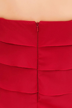 Stunning Strapless Knee Length Red Wedding Guest Dress