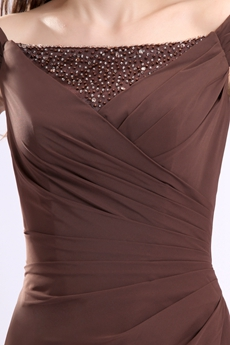 Off The Shoulder A-line Brown Chiffon Mother Of The Bride Dress