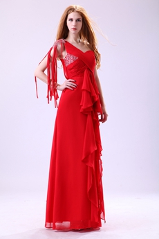 Latest One Shoulder A-line Full Length Prom Dress With Tassel