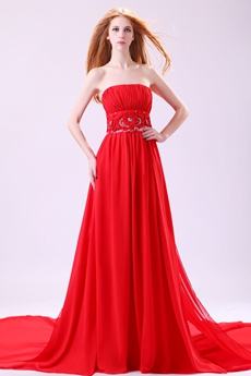 Classy Strapless A-line Full Length Red Chiffon Prom Dress With Shawl