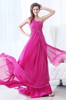 Flattering One Shoulder A-line Fuchsia Prom Dress 2016