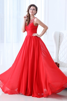 Magical Scoop Neckline A-line Red Chiffon Prom Dress Beads