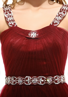 Straps A-line Burgundy Prom Party Dress