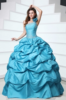 Glassy One Shoulder Ball Gown Taffeta Blue Quinceanera Dress