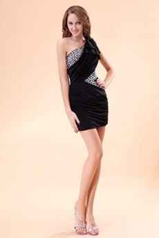 Modern One Shoulder Little Black Dress With Rhinestones