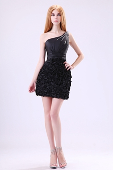 Modern One Shoulder Mini Length Little Black Cocktail Dress