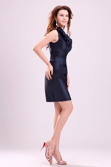 V-Neckline Mini Length Navy Blue Wedding Guest Dress