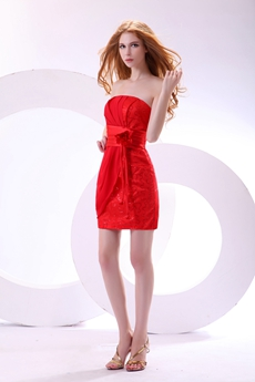 Chic Mini Length Red Cocktail Dress With Sash