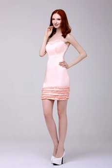 Chic Sheath Mini Length Pink Satin Nightclub Dress