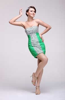 Luxury Sheath Green Nightclub Dress Beaded