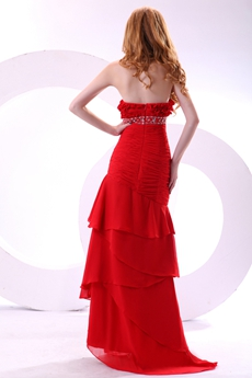 Junoesque A-line Red Chiffon Long Prom Party Dress With Diamonds