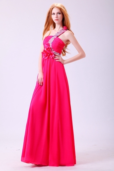 Dazzling Single Straps A-line Fuchsia Prom Dress With Handmade Flowers