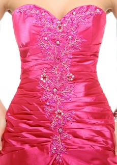 A-line Satin Fuchsia Long Prom Party Dress