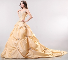 Luxurious V-Neckline Taffeta Champagne Mature Wedding Dress