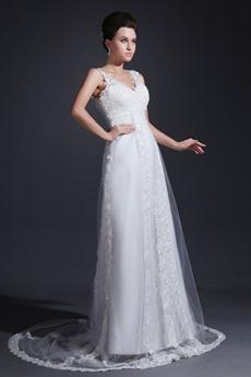 Grecian V-Neckline Column Full Length Lace Wedding Dress