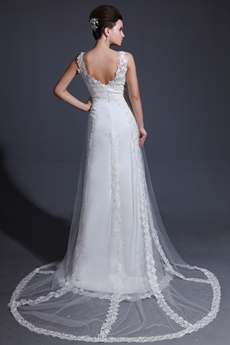 Grecian V-Neckline Column Full Length Lace Wedding Dress