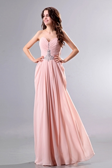 Wonderful Column Full Length Pink Bridesmaid Dress With Stones
