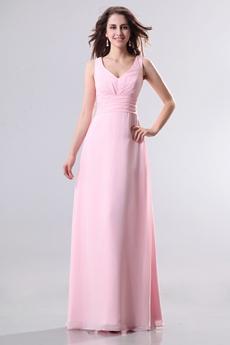 Charming V-Neckline Column Full Length Pink Chiffon Bridesmaid Dress