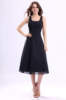 Svelte Scoop Neckline Tea Length Dark Navy Wedding Guest Dress