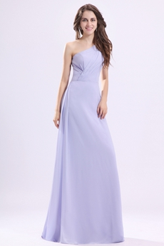 Noble One Shoulder A-line Lavender Chiffon Bridesmaid Dress