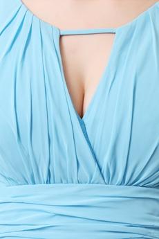 Exquisite Spaghetti Straps Sky Blue Evening Dress