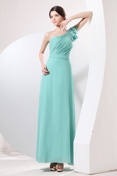 Pretty One Shoulder Ankle Length Jade Green Bridesmaid Dress