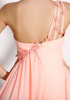 Glamour One Shoulder Pink Chiffon Maternity Formal Evening Gown