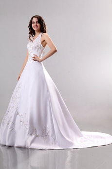 Elegant Halter White Wedding Dress With Silver Embroidery