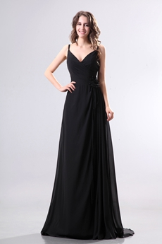 Glamourous V-Neckline Full Length Black Chiffon Evening Dress