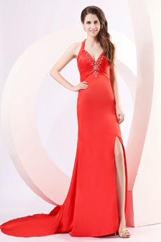 Sexy Crossed Straps Back A-line Sweetheart Red Evening Dress High Slit