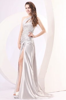 Stunning One Shoulder Silver Satin Informal Evening Dress