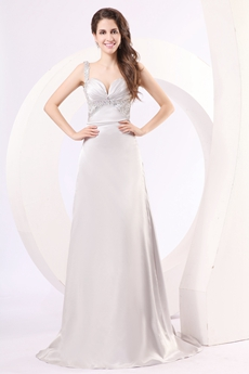 Sexy Straps A-line Low Cut Sweetheart Silver Gray Evening Dress V-Back