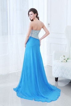 New Faddish Sweetheart Full Length Turquoise Prom Dress With Rhinestones