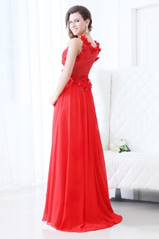Charming V-Neckline Red Chiffon Formal Evening Dress With Pearls