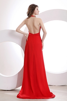Glamour Top Halter Red Chiffon Backless Evening Dress