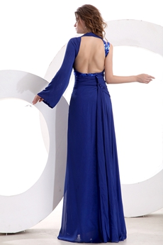 Special One Sleeves Full Length Royal Blue Cocktail Dress Front Slit