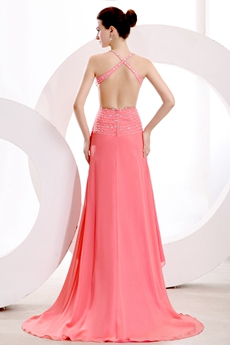 Gorgeous Spaghetti Straps Backless Watermelon Chiffon Evening Dress