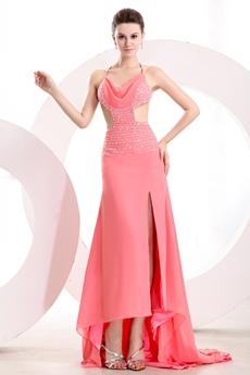 Gorgeous Spaghetti Straps Backless Watermelon Chiffon Evening Dress