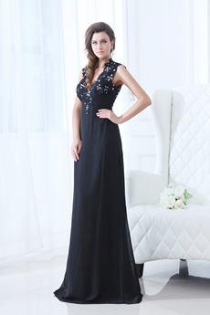 Keyhole Back V-Neckline Black Chiffon Mother Of The Bride Dress