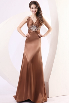 Trendy V-Neckline Brown Satin Prom Dress With Rhinestones