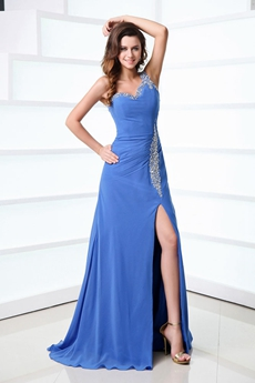 Terrific One Shoulder Royal Blue Chiffon Celebrity Evening Dress