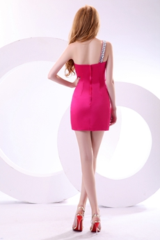 Chic One Shoulder Mini Length Fuchsia Cocktail Dress