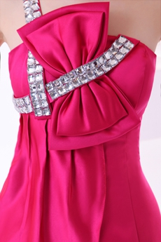 Chic One Shoulder Mini Length Fuchsia Cocktail Dress