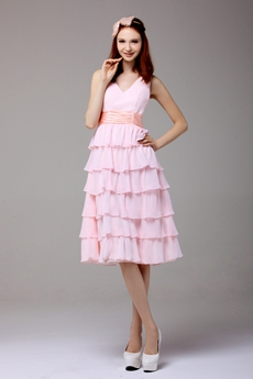 V-Neckline Knee length Pearl Pink Chiffon Junior Prom Gown